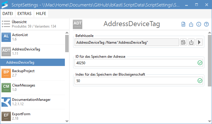 AddressDeviceTag-Einstellungen