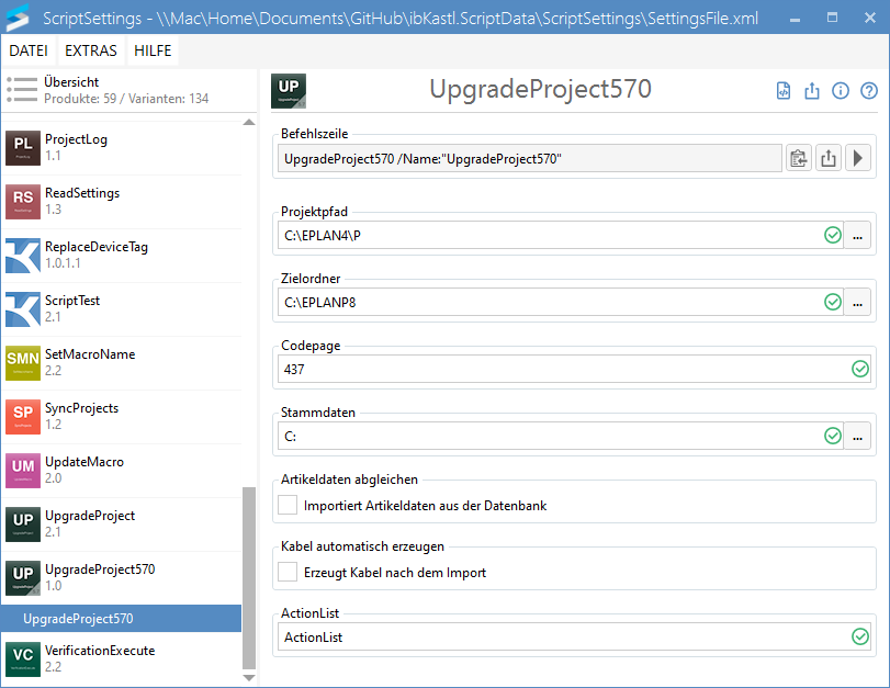 UpgradeProject570-Einstellungen