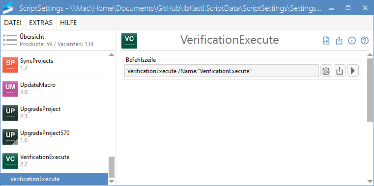 VerificationExecute-Einstellungen